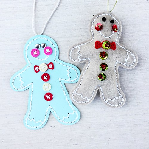 Felt Button and Sequined Versions of Stitched Ginger Mister by Papertrey Ink