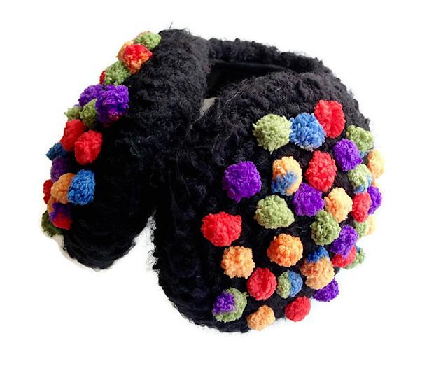 black pom pom earmuffs