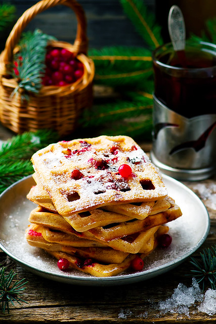 waffle with bran and cranberry