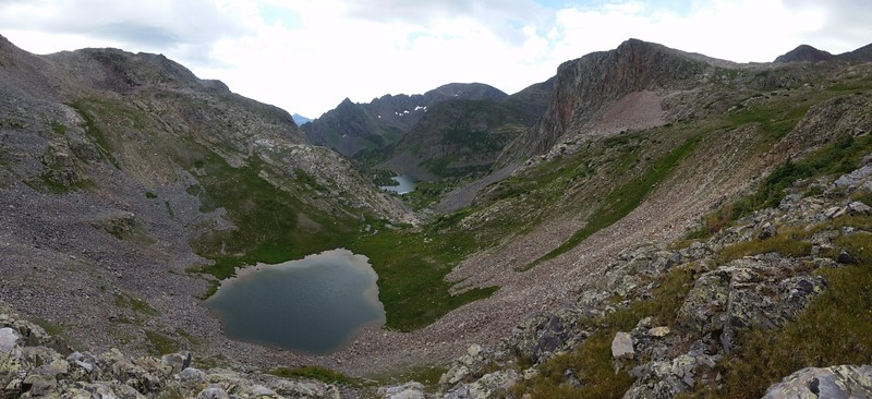 Looking down at the two Moon Lakes from the pass