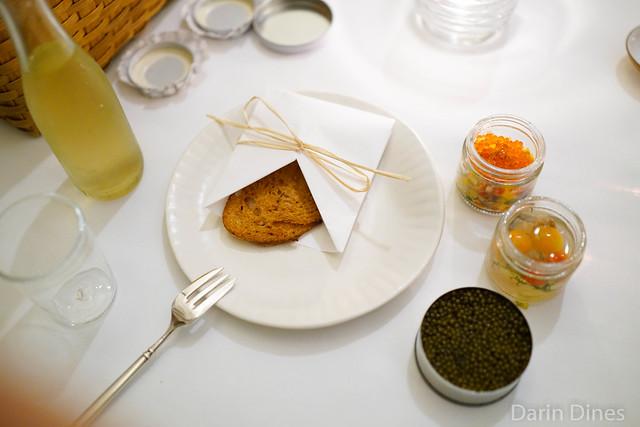 Caviar picnic with pickled macerel and ratatouile