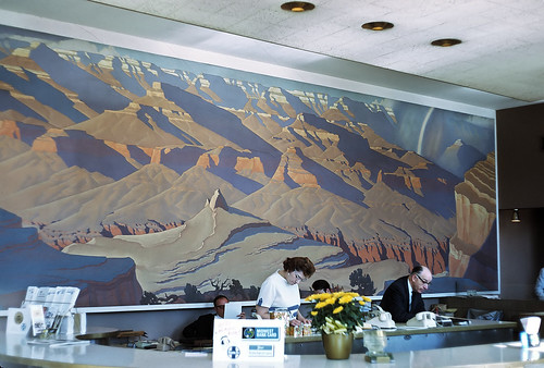 Atsf interior of travel center showing grand canyon mural for Mural in chicago illinois