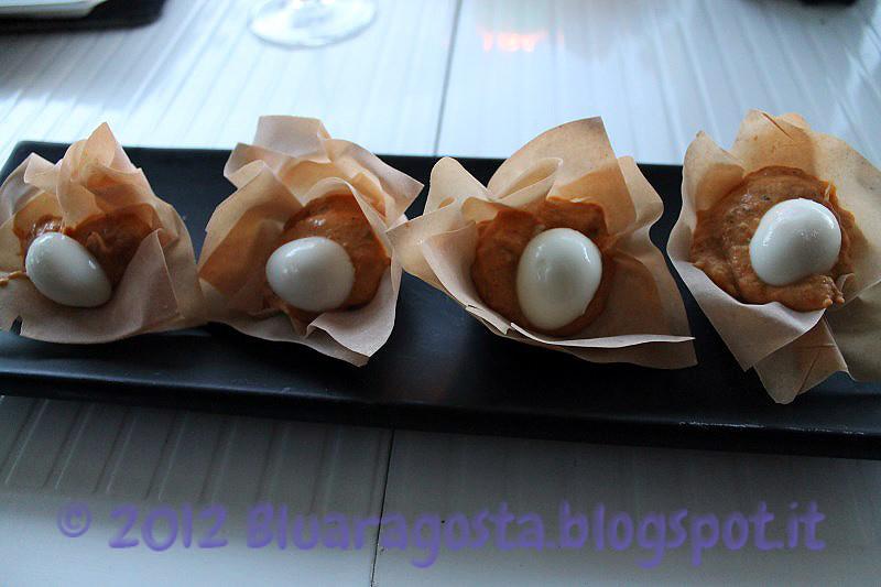 01-Cocotte di pasta fillo con crema ai peperoni allo zenzero e uova di quaglia sode