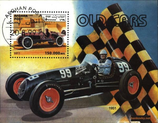 Známky Afganistan 1979 Staré závodné automobily, razÃ-tkovaný hárok