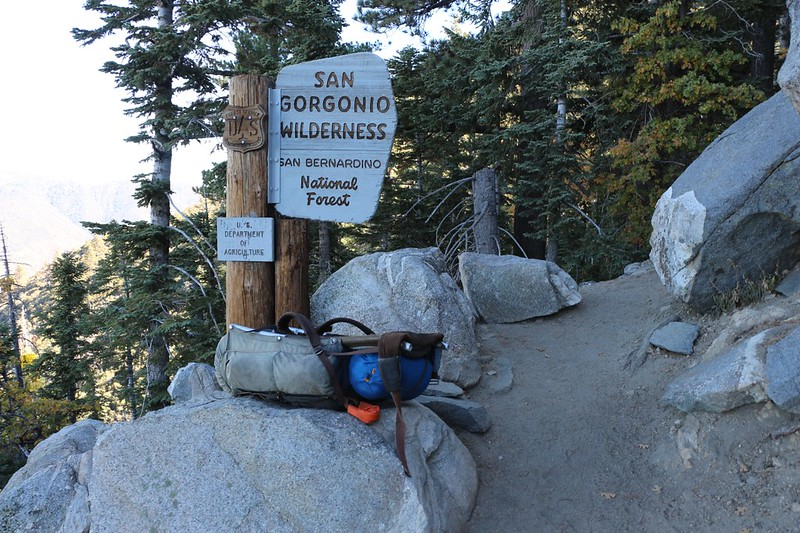 I had to do some quick pack repair at the Wilderness Boundary sign on the San Bernardino Peak Trail