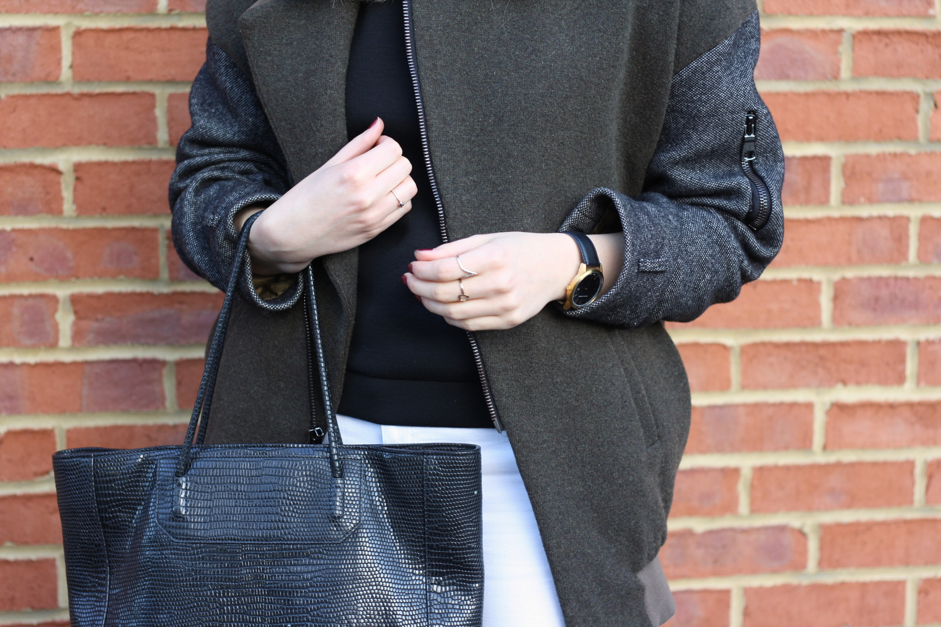 Larsson & Jennings Saxon watch, Topshop Unique khaki bomber and Alexander Wang Prisma tote