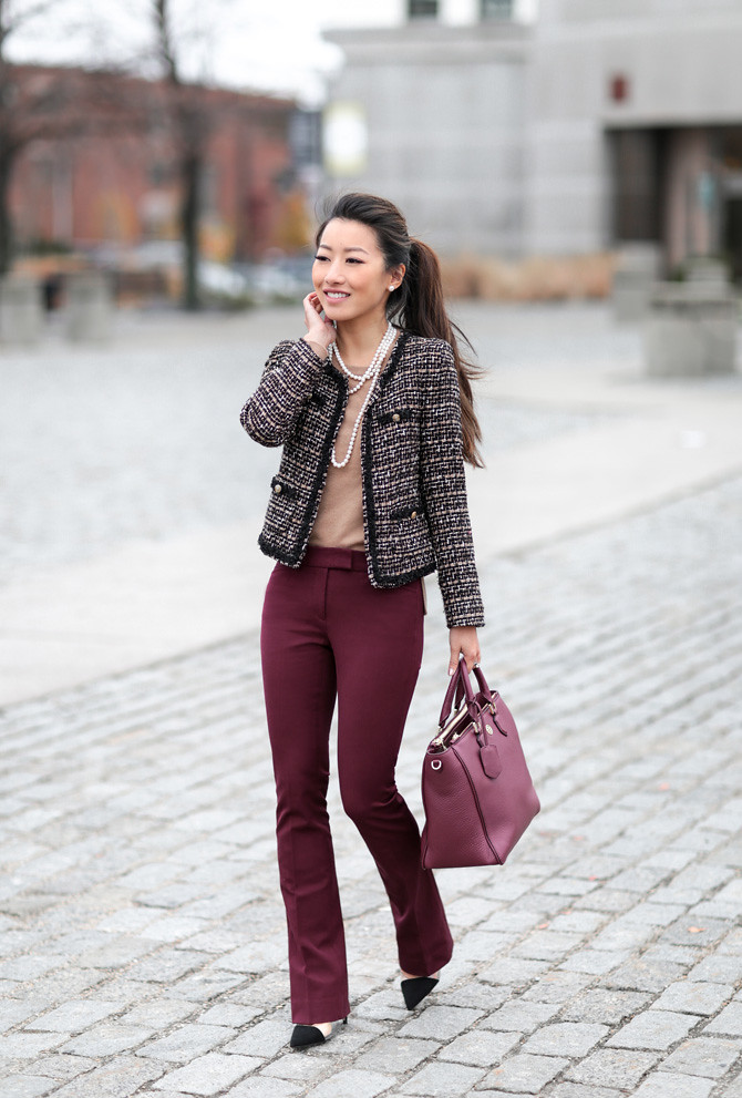 burgundy pants tweed jacket work outfit extra petite