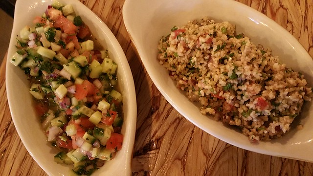 2016-Oct-21 Salchicha Meat Bar - Arabic Salad (left), Tabbouleh (right)