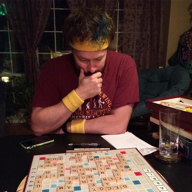 Last night we set up a game of Scrabble in the parlor so we wouldn't have to run up a flight of stairs every time trick or treaters came to the front door. We feasted on roast and pumpkin roll, and I won the game.