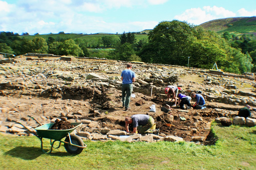 Archaeology in process at Vindolanda Roman Site.
