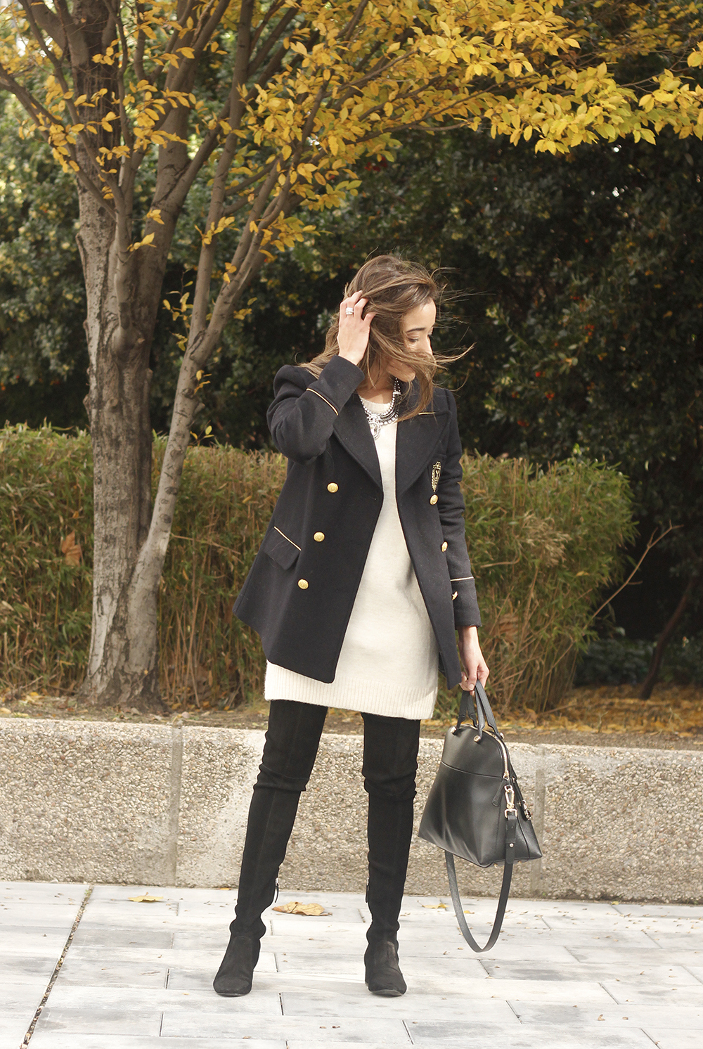 Knitted dress over the knee boots black coat furla bag outfit style fashion fall06