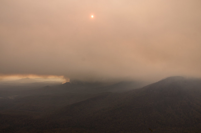 View of fire from Caesars Head - 1