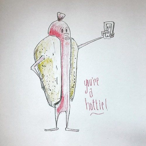 """Ryan: What should I draw? Me: Draw a dancing hot dog, like in the old school intermissions at movies. Ryan: I'm gonna draw a hot dog taking a selfie & it'll say """"you're a hottie"""". ... Ryan: How do you make duck lips? Me: (laughs) Like this... :camer"""