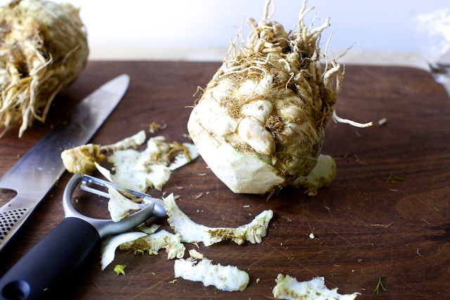 peeling the celery root