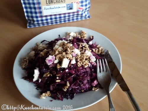 Warm Red Cabbage Salad at work