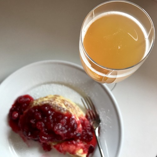 cranberry sauce pancakes & fresh apple cider mimosa