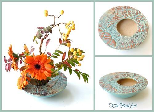 copper turquoise ikebana bowl