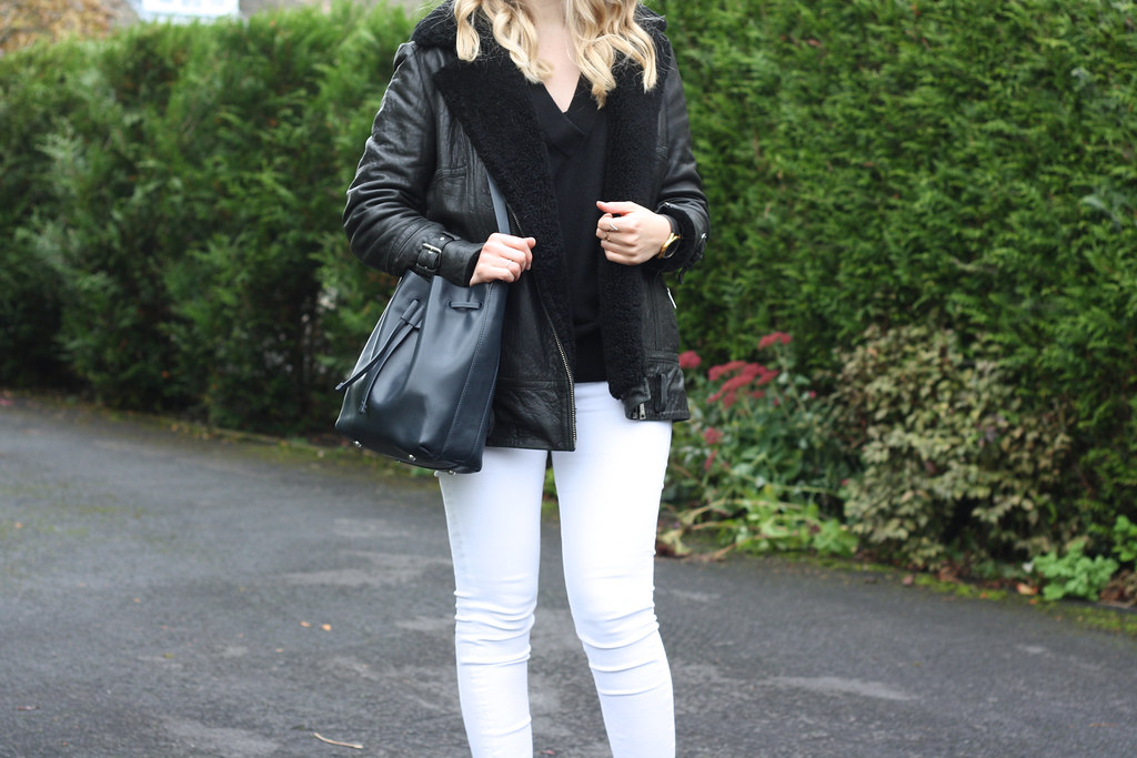 Larsson & Jennings black Saxon watch, Topshop white skinny jeans and Whistles blue bucket bag