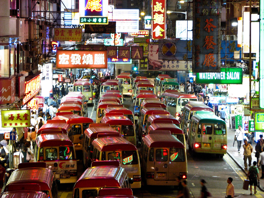 Mini busses in Mong Kok, Kowloon. Image: Eduardo M. C, CC