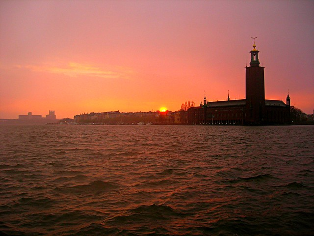 Sunset in the rain over Stockholm City Hall - 3