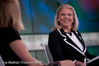 Ginni Rometty of IBM and interviewer Jessi Hempel of Fortune speaking during ONE ON ONE: Ginni Rometty | by Fortune Live Media
