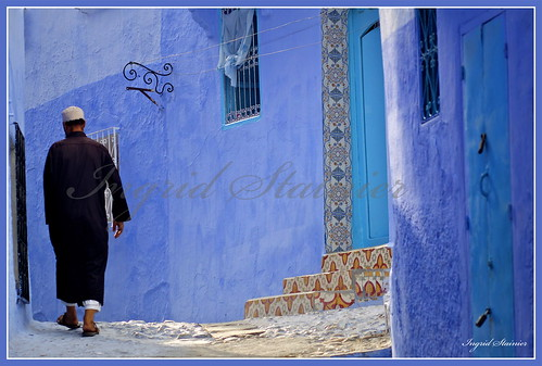 093. Walking in the Blues, Chaouen, Morocco | by Charlottine'sPics - ingridstainier.com