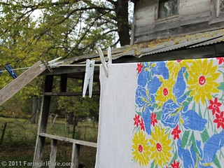 Vintage spring linens on the autumn laundry line 1 | by Farmgirl Susan