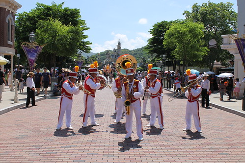 Hong Disneyland Band perform on Main Street USA