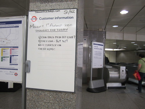 Angel Tube Thought of the Day - 1st August 2011
