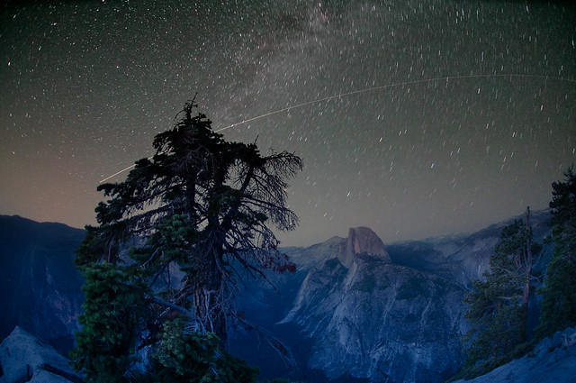 Shooting Star over Half Dome