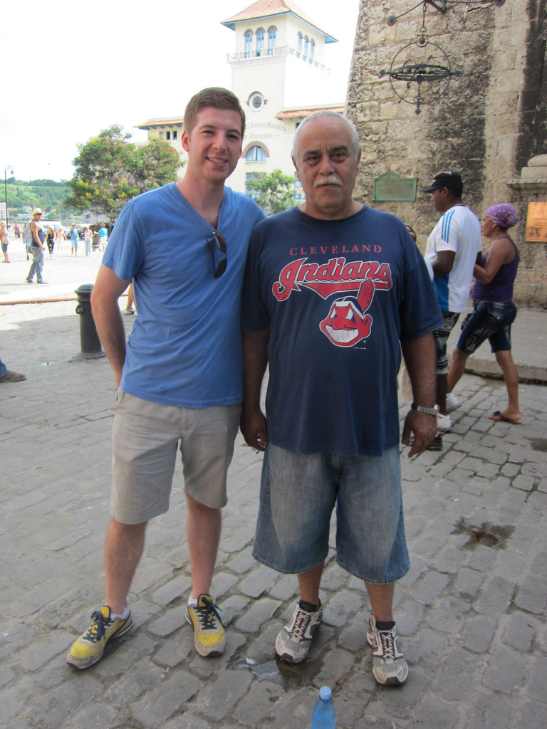 My brother Justin with a Cuban wearing a Cleveland Indians shirt... apparently not an Indians fan though.
