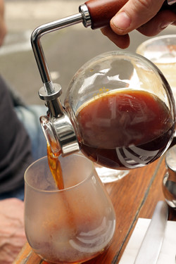 pouring siphon coffee | by David Lebovitz