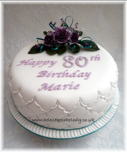 Purple jade latice 80th birthday cake purple jade for Gardening 80th birthday cake
