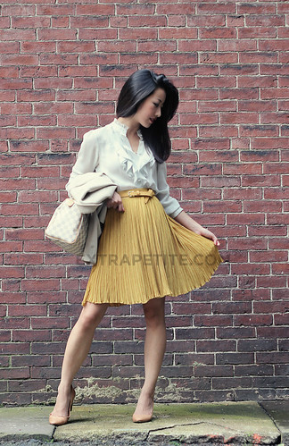 Modcloth Mustard Yellow Pleated Skirt | by ExtraPetite.com