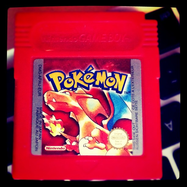 Pokémon Red GameBoy cartridge.