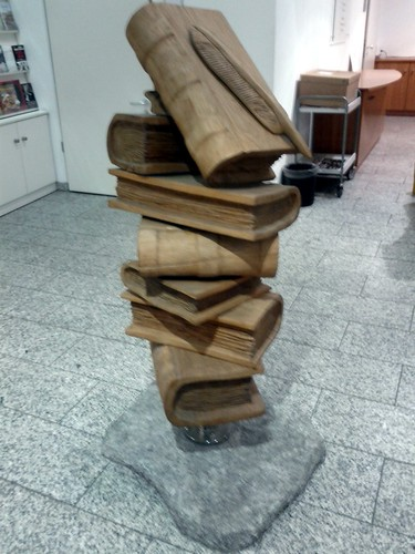 Carved stack of books sculpture random house munich