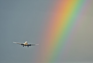 Airplane and  Rainbow (explored) | by Lydia2222