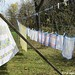 Vintage spring linens on the autumn laundry line 7