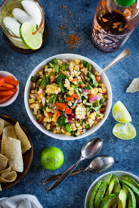 easy corn salad with sriracha and lime