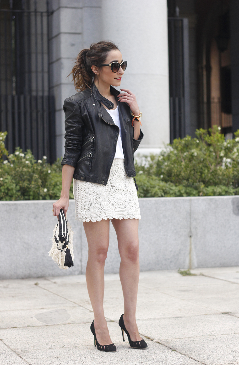 crochet skirt leather jacket black heels sunnies spring outfit style14