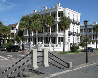 Louis DeSaussure House (1858-60), 1 East Battery (corner of South Battery), Charleston, SC, from High Battery