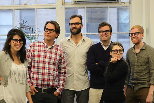 Shapeways Team prepping for SXSW with 3D printed glasses sans lens | by Shapeways: