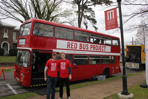 Wheeler and Caleb outside of the Red Bus | by ShowHope
