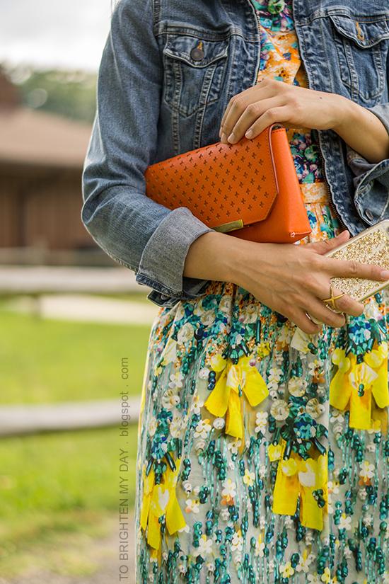 denim jacket, orange clutch, floral dress