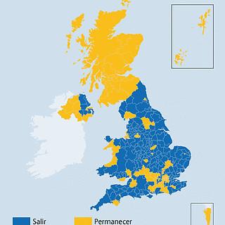 Mapa con los resultados del Brexit