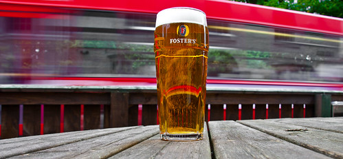 Flash of a bus. Pint of Fosters. | by CWhatPhotos