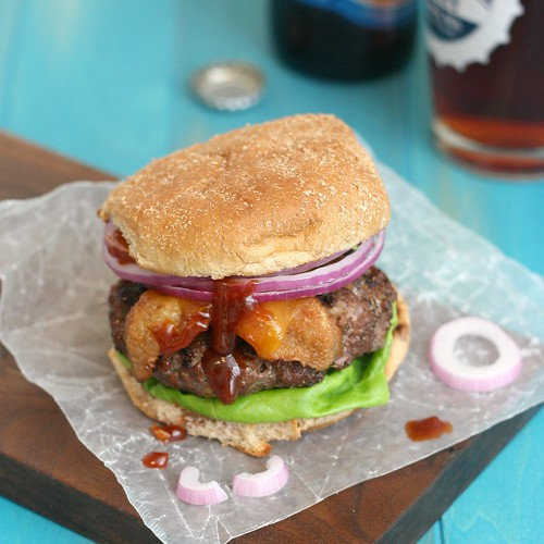 Coffee-Rubbed Cheeseburgers with Texas Barbecue Sauce | by Tracey's Culinary Adventures