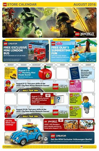 LEGO August 2016 Store Calendar
