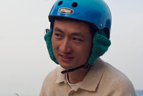 18389 Bike helmet earmuffs version 2, cone could hold phone (loosely while stationary) | by geekstinkbreath