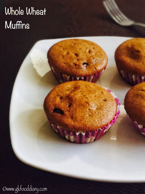 Eggless Whole Wheat Muffins Recipe for Toddlers and Kids3